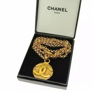 Chanel Gold Necklace with CC Pendant 32""